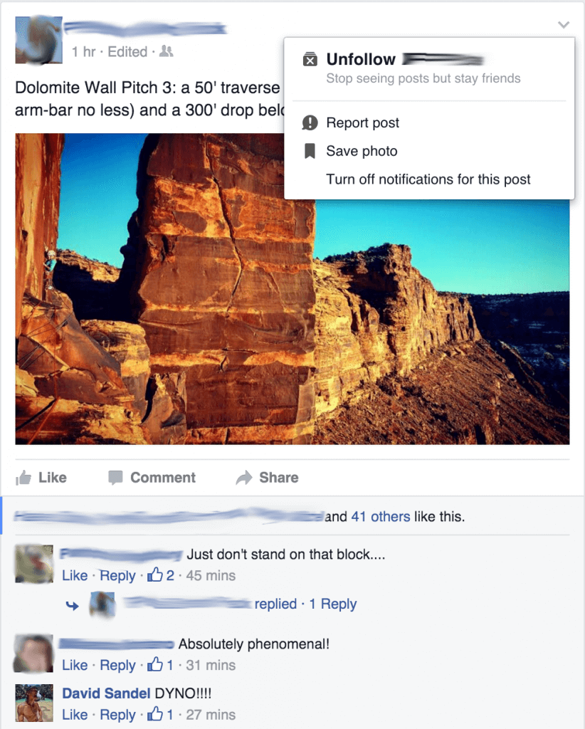 Desktop Facebook Timeline Unfollow Post