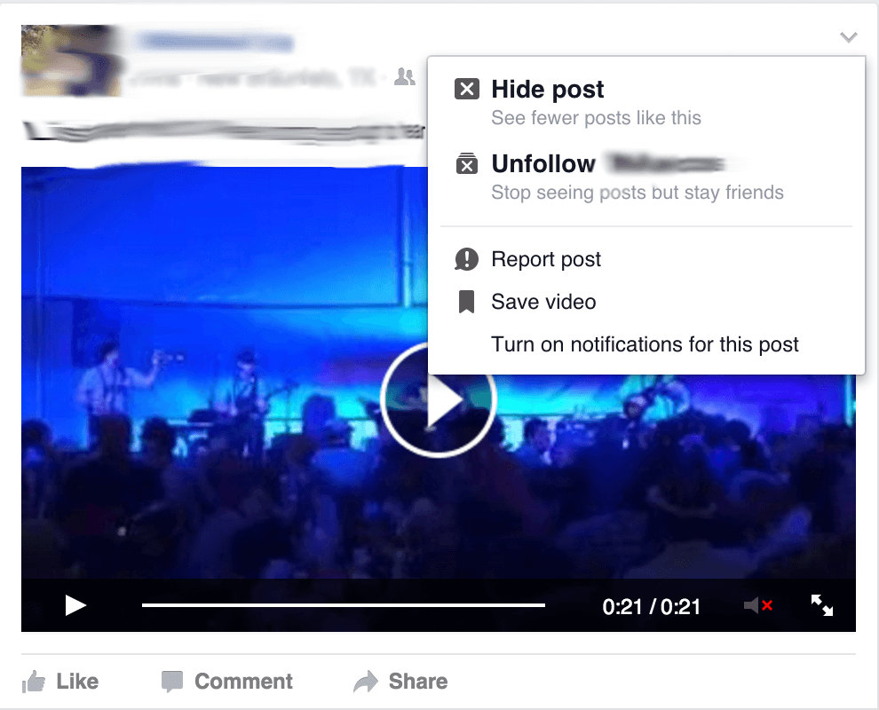Desktop Facebook Timeline Unfollow
