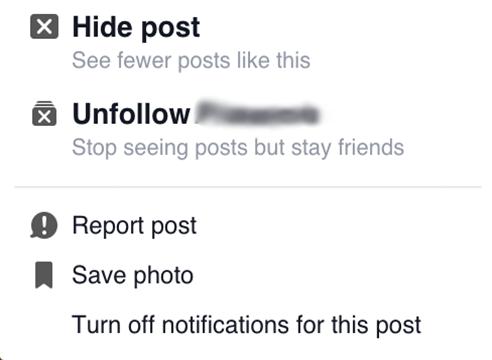 Mobile Facebook Timeline Unfollow Post