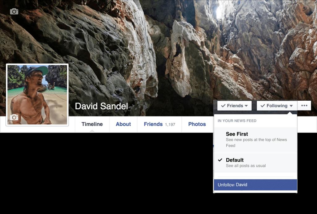 Facebook Unfollow on Desktop