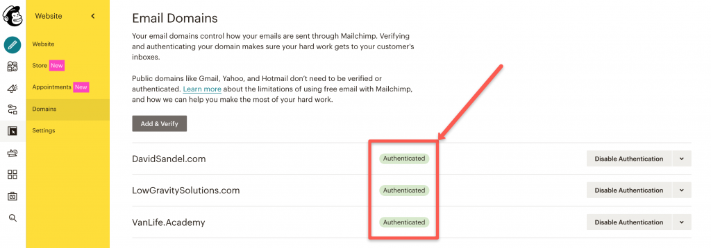 Image of authenticated Domains in MailChimp