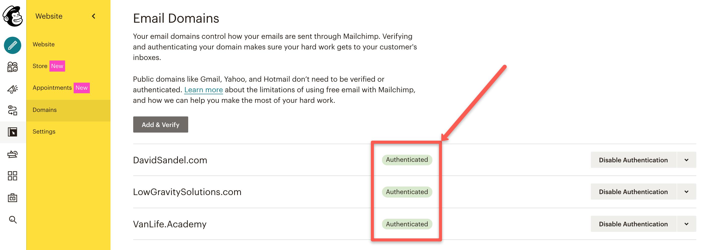 MailChimp Authenticated Domains