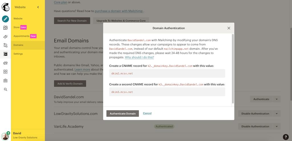 MailChimp Domain Authentication 2021