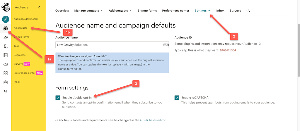 MailChimp Double Opt In Settings