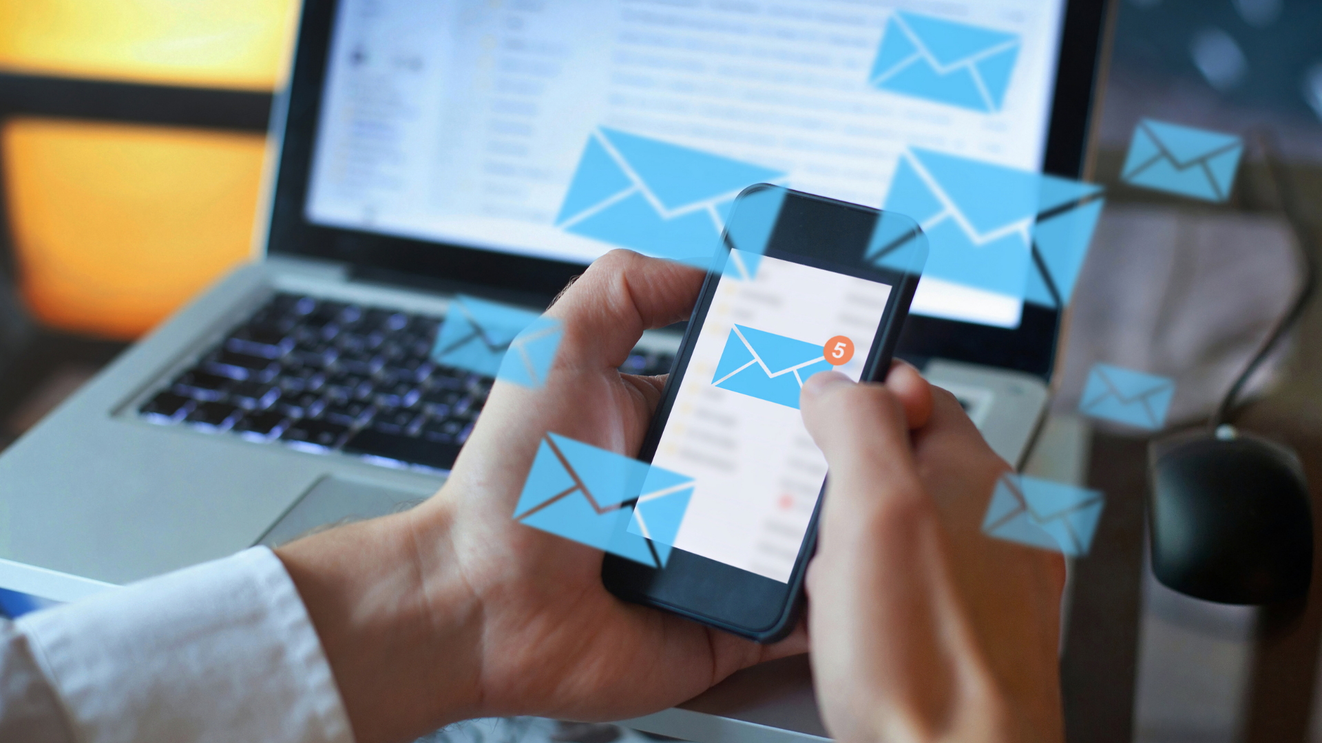 person receiving an email on phone - showing good email hygiene